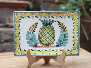"PineApple Tray Wave Rectangular 7.9 X 5.3"" Yellow-Green Colors"