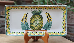 "PineApple Tray Large Rectangular Plate 15*7.5"" Yellow-Black Colors"