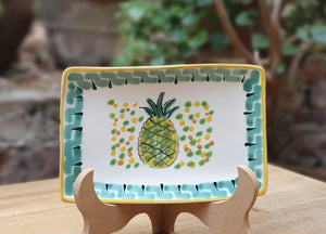 "PineApple Bread Rectangular Plate / Tapa Plate 5.5x3.9"" Multi-colors"