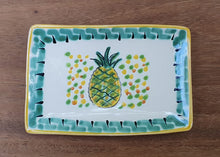 "PineApple Bread Rectangular Plate / Tapa Plate 5.5x3.9"" Green-Yellow Colors"