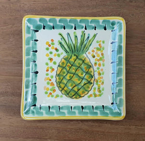 "PineApple Bread Square Plate / Tapa Plate 5x5"" Multi-colors"