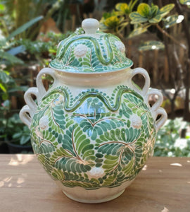 "Decorative Vase w/Strawberryes 14.5"" Height Green Colors"