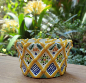 "Fruit Canister 6.7""H * 11.8""D with woven relief Yellow"