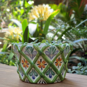 "Fruit Canister 5""H * 8.5"" D with woven relief Green"