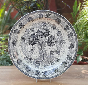 Decorative Platters Little Flower Pattern Black and White
