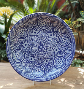 Decorative Platters Morisco Pattern Blue and White