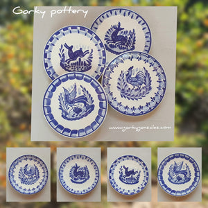 "Animals Bread Plate / Tapa Plate 6.3""D Set (4 pieces) Blue - Mexican Pottery by Gorky Gonzalez"