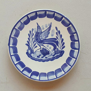 "Bird Bread Plate / Tapa Plate 6.3"" D Blue and White - Mexican Pottery by Gorky Gonzalez"