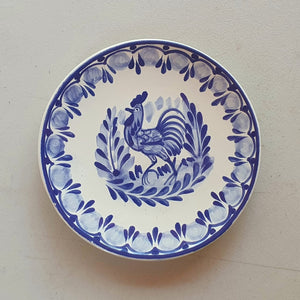 "Rooster Bread Plate / Tapa Plate 6.3"" D Blue"