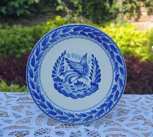 "Bird Dinner Plate 10"" D Blue and White - Mexican Pottery by Gorky Gonzalez"
