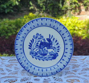 "Rabbit Charger Dinner Plate 12"" D Blue and White"