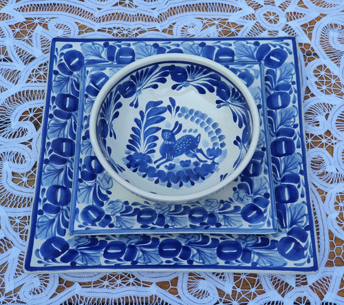 Rabbit Square Dish Set (3 pieces) (One Service) Blue and White