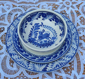 Rabbit Dish Set (3 pieces) (One Service) Blue and White