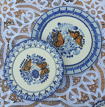 Butterfly Plates Set Dinner and Salad (2 pieces) MultiColors - Mexican Pottery by Gorky Gonzalez