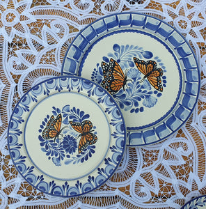 Butterfly Plates Set Base Dinner and Dinner(2 pieces) MultiColors - Mexican Pottery by Gorky Gonzalez