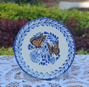 "Butterfly Bread Plate / Tapa Plate 6.3"" D Blue-Orange Colors - Mexican Pottery by Gorky Gonzalez"