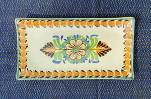 "Flower Tray Small Rectangular Plate 11*5.7"" MultiColor"