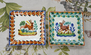 "Rabbit Bread Square Plate / Tapa Plate 5*5"" Set of 2 MultiColors"
