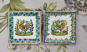 "Rooster Bread Square Plate / Tapa Plate 5*5"" Set of 2 MultiColors"