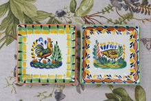 "Rooster Bread Square Plate / Tapa Plate 5*5"" Set of 2 Multi-colors"
