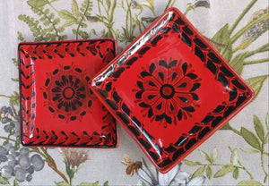 Flower Bread Square Plate / Tapa Plate Set of 2 Contemporary Choose your Favorite Color