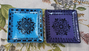 "Flower Bread Square Plate / Tapa Plate 5*5"" Set (2 pieces) Contemporary"
