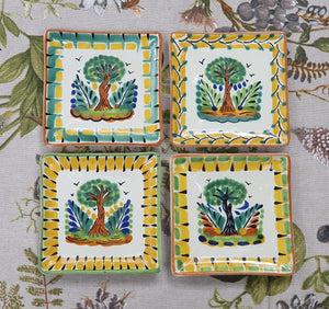 "Tree Bread Square Plate / Tapa Plate 5*5"" Set of 4 Multi-colors"