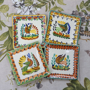 "Bird Bread Square Plate / Tapa Plate 5*5"" Set of 4 Multi-colors"