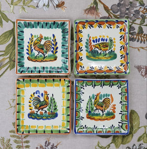 "Chickens Bread Square Plate / Tapa Plate 5*5"" Set of 4 Multi-colors"