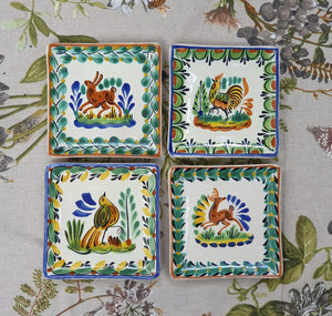 "Animals Bread Square Plate / Tapa Plate 5*5"" Set of 4 Multi-colors"