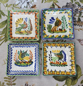 "Bird Bread Square Plate / Tapa Plate 5*5"" Set (4 pieces) Multi-colors"