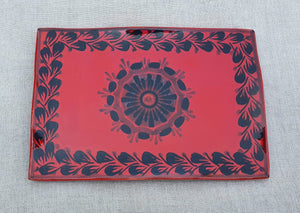 "Flower Tray Wave Rectangular 7.9 X 5.3"" Red Contemporary"