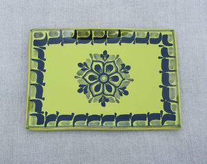 "Flower Tray Wave Rectangular 7.9x5.3"" Green Contemporary"