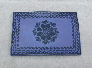 "Flower Tray Wave Rectangular 7.9x5.3"" Purple Contemporary"