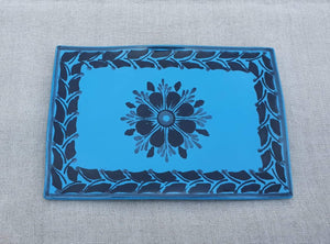 "Flower Tray Wave Rectangular 7.9x5.3"" Blue Contemporary"