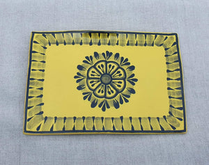 "Flower Tray Wave Rectangular 7.9 X 5.3"" Yellow Contemporary"