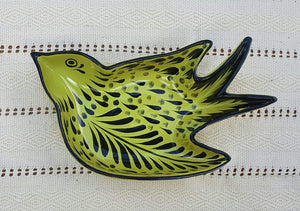 "Bird Small Swallow Dish 6.1 X 4.1"" Green Contemporary"