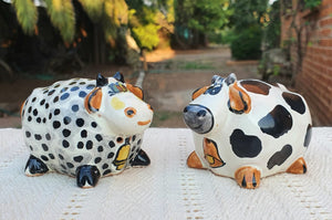 Cow Round Salt and Pepper Shaker Set Black and White