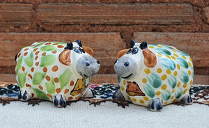 Cow Round Salt and Pepper Shaker Set MultiColors