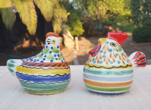 Rooster & Chicken Salt and Pepper Shaker Set MultiColors