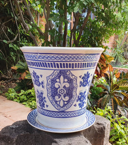 "Flower Pot 12.6"" Height Blue Elegant"