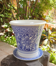 "Flower Pot 12.6"" Height Blue Flower"