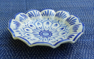 "Flower Footed Snack Dish 7"" D Blue and White"