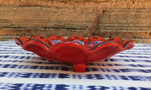 "Flower Footed Snack Dish 7"" D Red Contemporary"