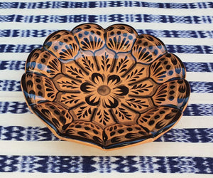 "Flower Footed Snack Dish 7"" D Orange Contemporary"