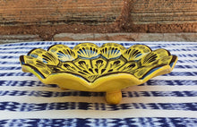"Flower Footed Snack Dish 7"" D Yellow Contemporary"