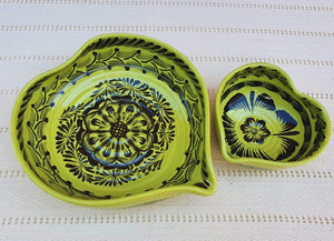 Heart Bowl Set (2 pieces) Green Contemporary