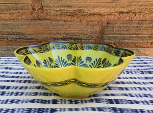 "Flower Salad Bowl 10"" D Green Contemporary"