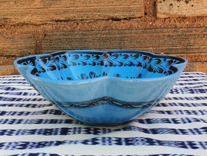 "Flower Salad Bowl 10"" D Blue Contemporary"