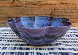 "Flower Salad Bowl 10"" D Purple Contemporary"